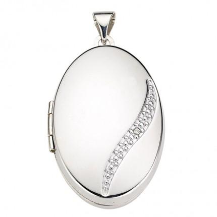CEM Anhänger Medaillon Silber Rhodiniert Oval Zirkonia BME901143