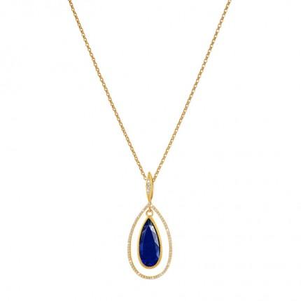 BERND WOLF Collier VENEZO Silber Goldplattierung Lapislazuli 85359236-50-60