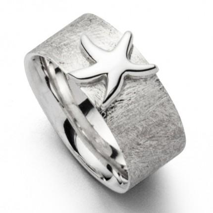 DUR Ring Silber Rhodiniert Seestern R5401