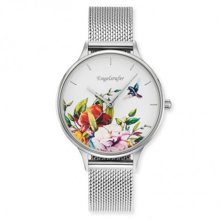 Engelsrufer Armbanduhr Edelstahl Blumen Multicolor Mesh ERWA-FLOWER1-MS-MS