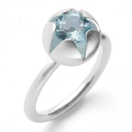 Bastian Inverun Ring 925/- Silber Rhodiniert Blautopas 38841