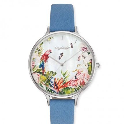Engelsrufer Armbanduhr Edelstahl Blumen Lederband Blau ERWA-PARADIS-NBL1-LS
