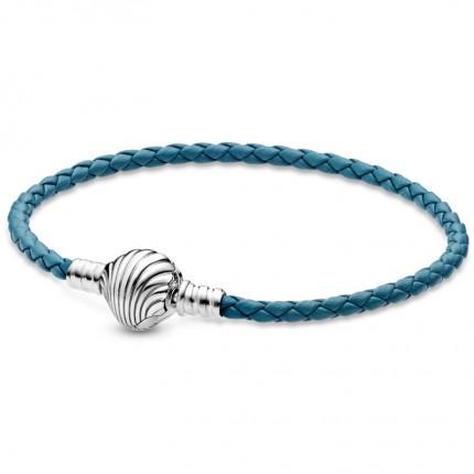 PANDORA Silberarmband Leder Shell Clasp 598951C01
