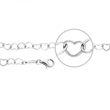 DER KETTENMACHER Armband Silber Rhodiniert Herzen HE-19S
