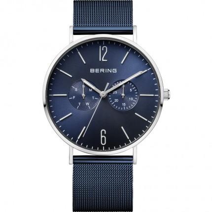Bering Herrenuhr Classic Edelstahl Milanaiseband Blau 14240-303