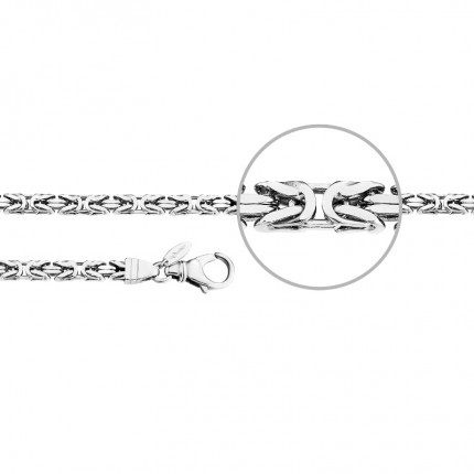 DER KETTENMACHER Sterlingsilber Rhodiniert Königsarmband Diamantiert 4,5mm KÖ3-19S