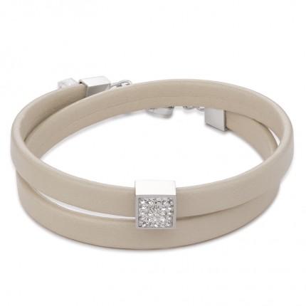 COEUR DE LION Armband Leder Kristalle Pavé Beige 0117/30-1800