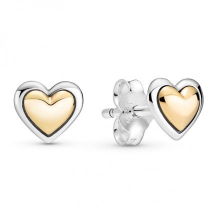 PANDORA Ohrschmuck Silber Bicolor Domed Golden Heart 299389C00