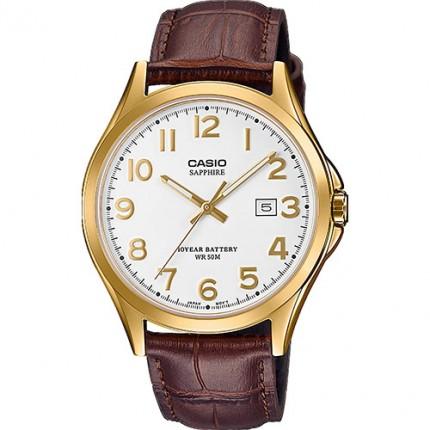 Casio Armbanduhr Collection Gold Analog Lederband Braun MTS-100GL-7AVEF