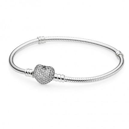 PANDORA Silberarmband mit Pavé-Herzverschluss 590727CZ