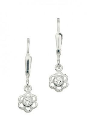 CEM Ohrhänger Silber Blume Weiß BOH 904801