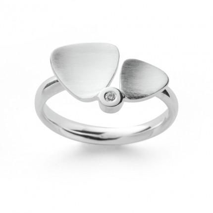 Bastian Inverun Ring 925/- Silber Rhodiniert mit Diamant 38171