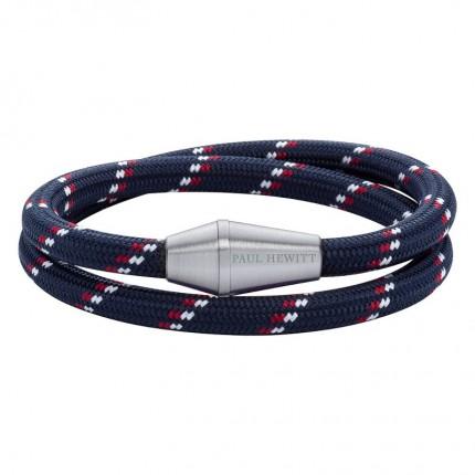 Paul Hewitt CONIC WRAP Armband Edelstahl Nylon Marineblau Rot Weiß PH002791