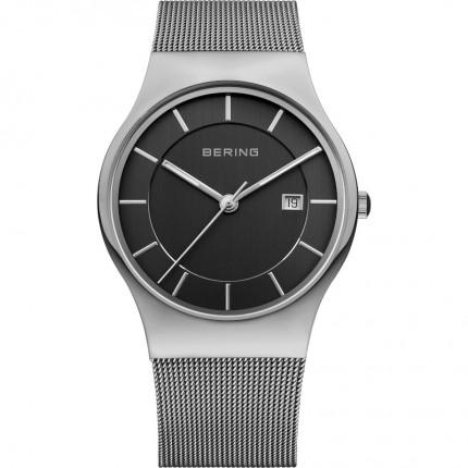 Bering Herrenuhr Classic Milanaise Silber Schwarz 11938-002