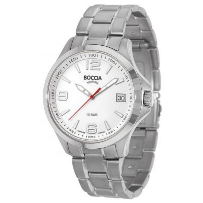 Boccia Titanium Herrenuhr Sport Weiß 3591-06