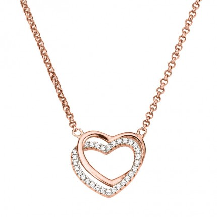 CEM Collier Silber rosévergoldet Herz BCO901558