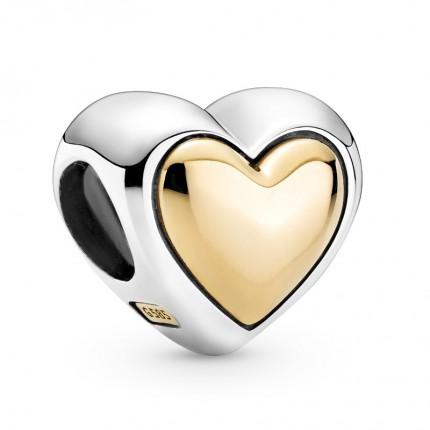 PANDORA Silberelement Domed Golden Heart 799415C00