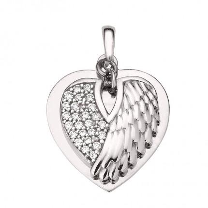 CEM Anhänger Silber Rhodiniert Gravurplatte Herz Flügel BAH905408