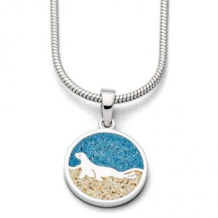 DUR Anhänger Silber Seehund Steinsand Blau P3530