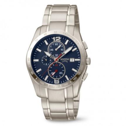Boccia Titanium Herrenuhr Chronograph Titan Blau 3767-03