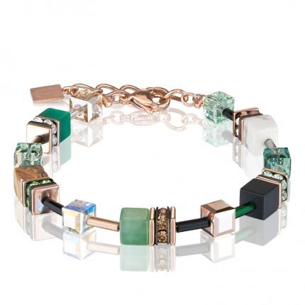 COEUR DE LION Armband Geo Cube Swarovski-Kristalle Edelsteine Grün Beige 4905/30-0510