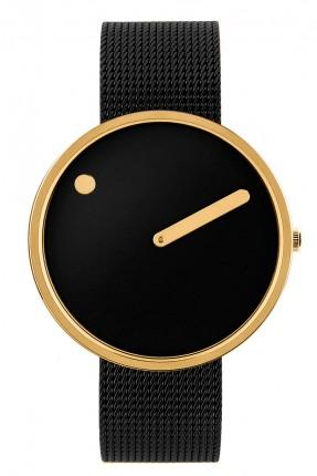 PICTO Armbanduhr Unisex Edelstahl Gold Meshband Schwarz 43387-1020