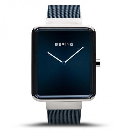 Bering Armbanduhr Square Ultra Slim Edelstahl Blau 14533-307
