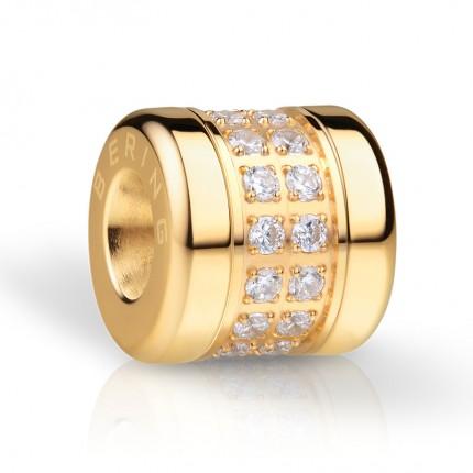 Bering Charm Edelstahl Gold Swarovski Lykke-1