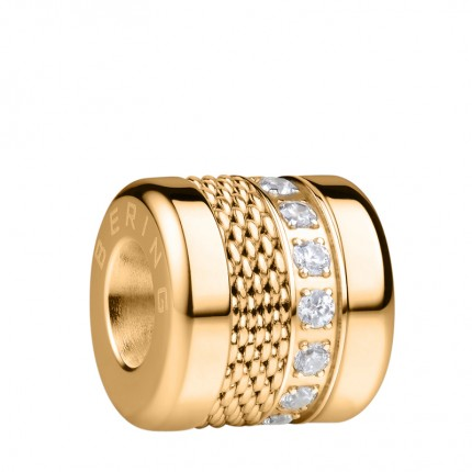Bering Charm Edelstahl Gold Mesh Zirkonia Love-7