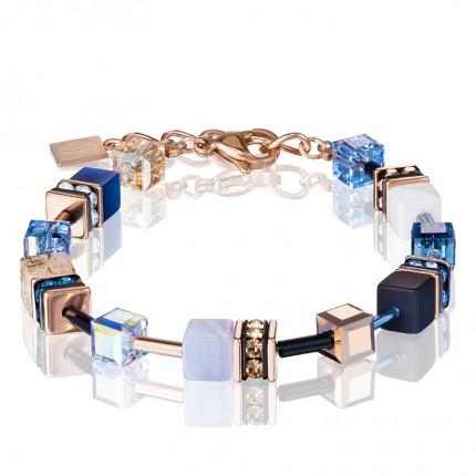 COEUR DE LION Armband Geo Cube Swarovski-Kristalle Edelsteine Blau Beige 4905/30-0710
