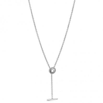 PANDORA Silberkette Pavé Circle Logo T-bar Heart 399050C01-80