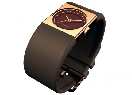 ROSENDAHL Armbanduhr Watch IV Small Edelstahl Roségold Polyurethan Braun 43264