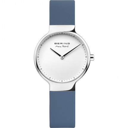 Bering Max René Damenuhr Edelstahl Silikonband Blau 15531-700