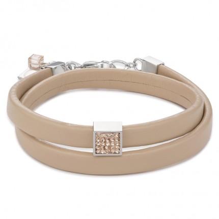 COEUR DE LION Armband Leder Kristalle Pavé Peach 0117/30-0225