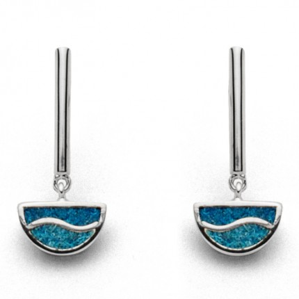 DUR Ohrhänger Silber Welle Steinsand Petrol Blau O5114