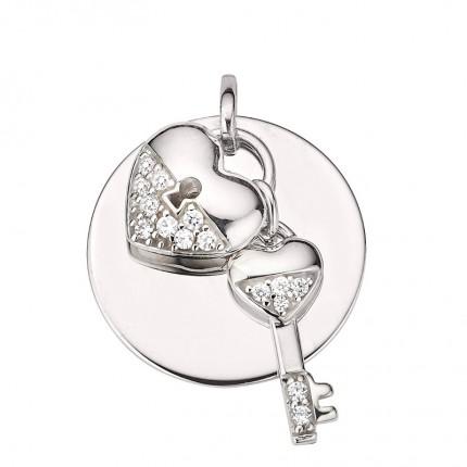 CEM Anhänger Silber Rhodiniert Gravurplatte Herz und Schlüssel BAH905418