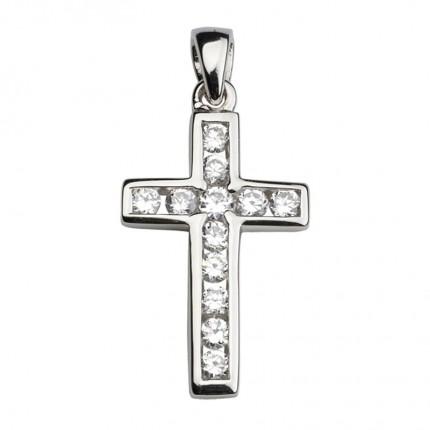 CEM Anhänger Kreuz Zirkonia Silber Rhodiniert BAH900804