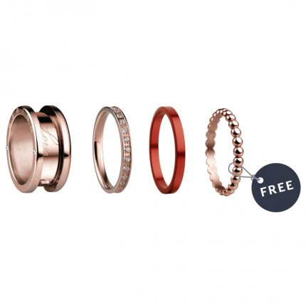 Bering Ring Starter-Set Edelstahl Ceramic Rot Swarovkisi Symphony-Set-RedSailing-X