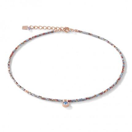 COEUR DE LION Collier Small Crystal Roségold Hellblau 5033/10-0720