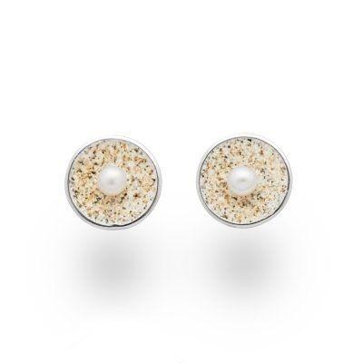 DUR Ohrstecker Silber Sandschale Perle O4992