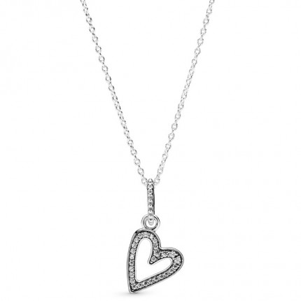 PANDORA Silberkette Sparkling Freehand Heart 398688C01